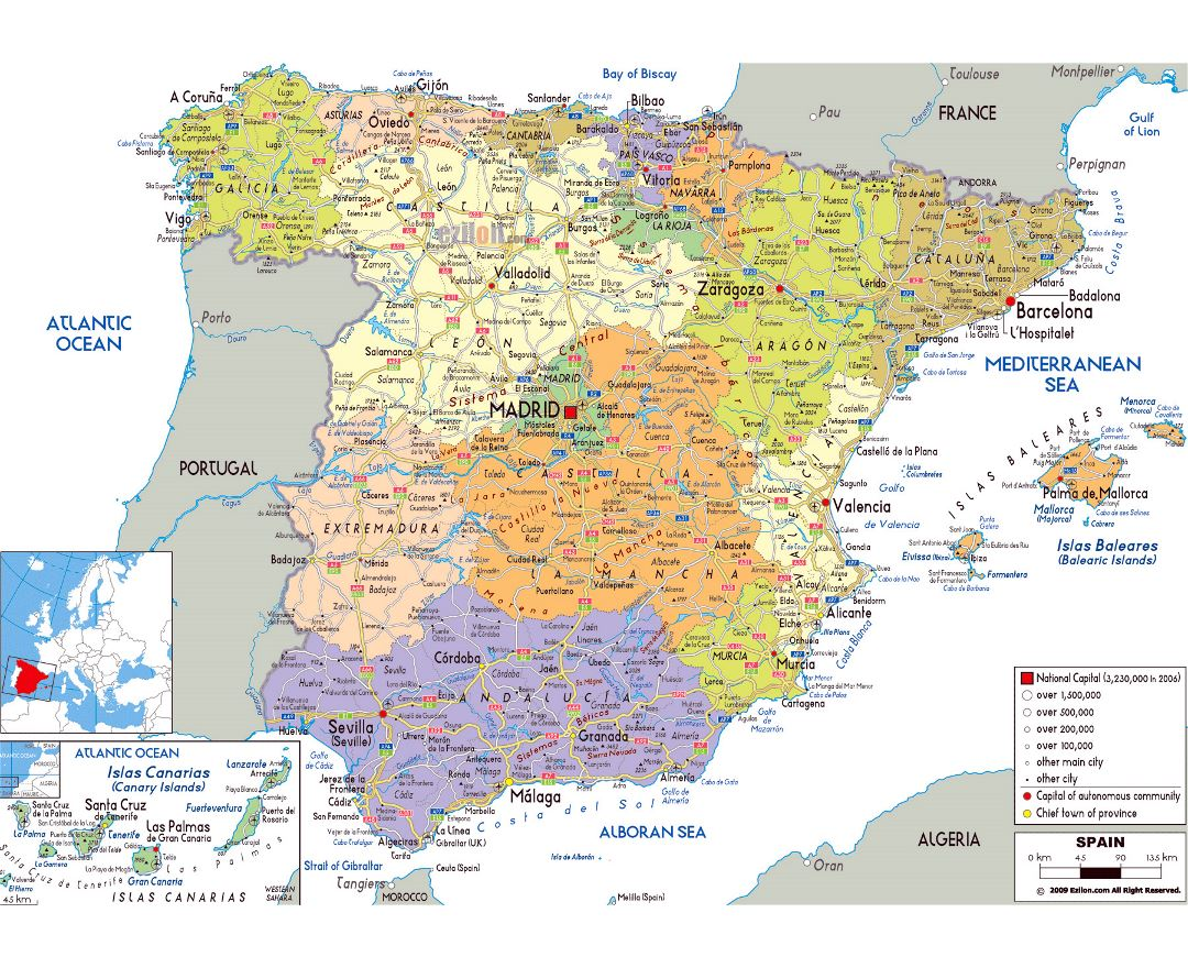Large political and administrative map of Spain with roads, cities and airports