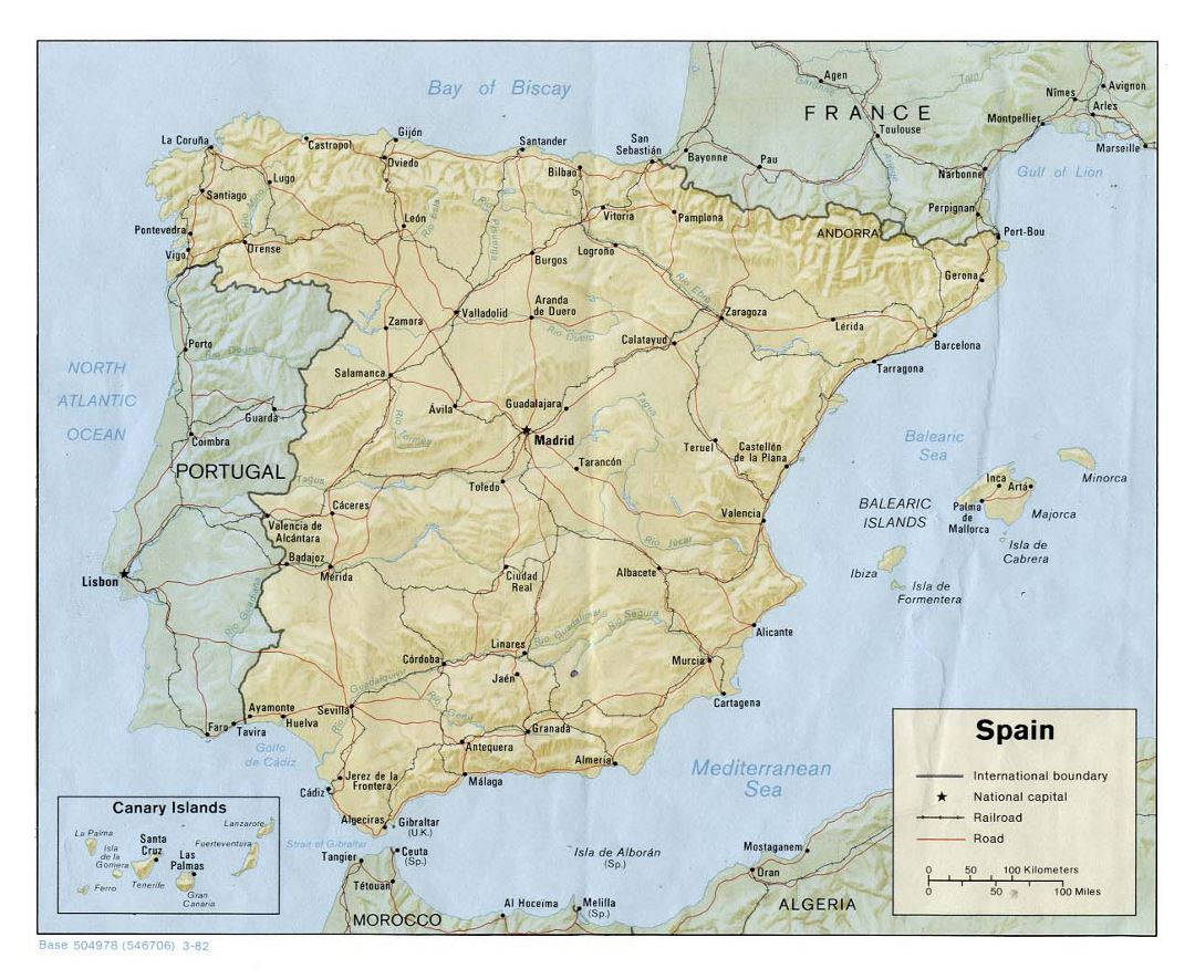 Large political map of Spain with relief, roads, railroads and major cities - 1982