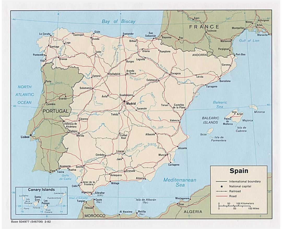 Large political map of Spain with roads, railroads and major cities - 1982