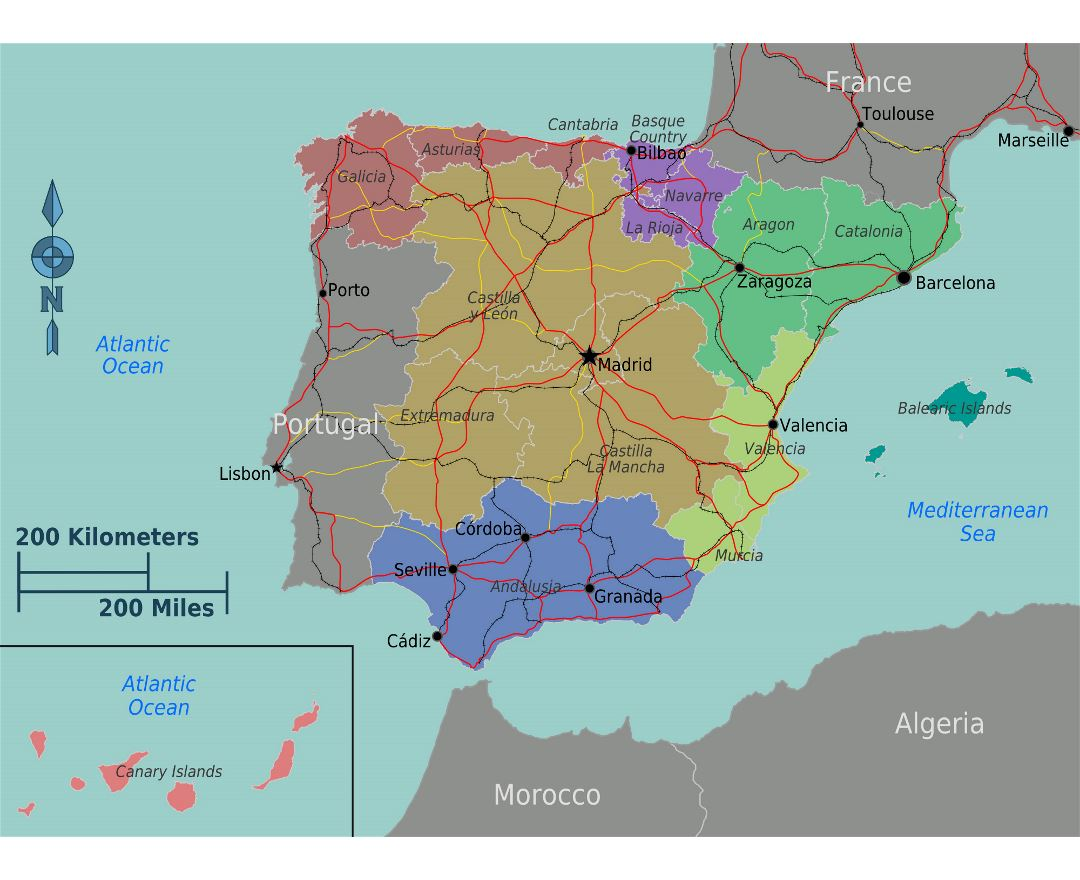 Large regions map of Spain