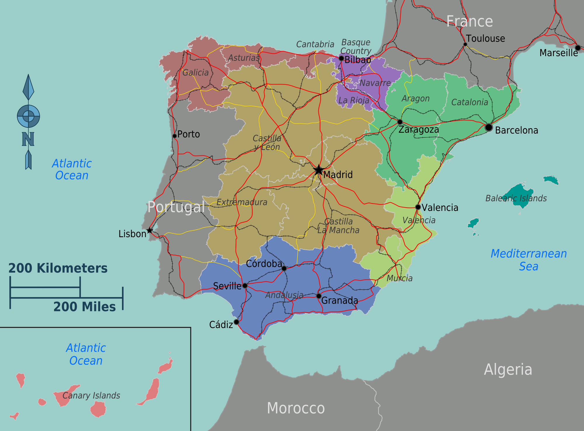 Spain Map Of Europe.Large Regions Map Of Spain Spain Europe Mapsland Maps Of The