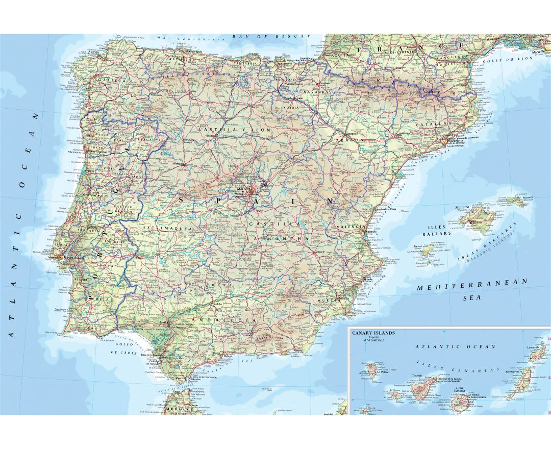 Large road map of Spain and Portugal with cities and airports