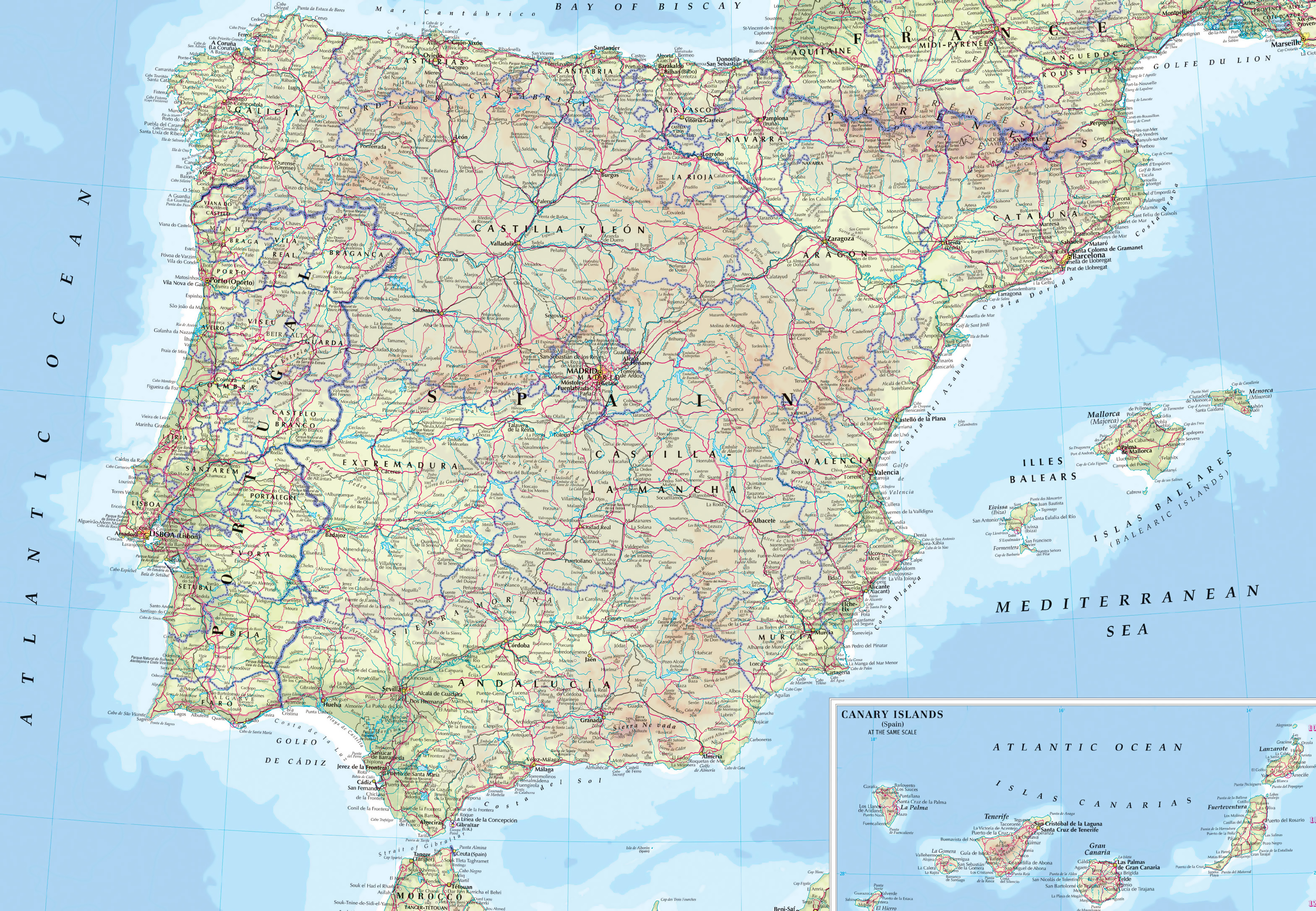 Map Of Spain And Europe.Large Road Map Of Spain And Portugal With Cities And Airports