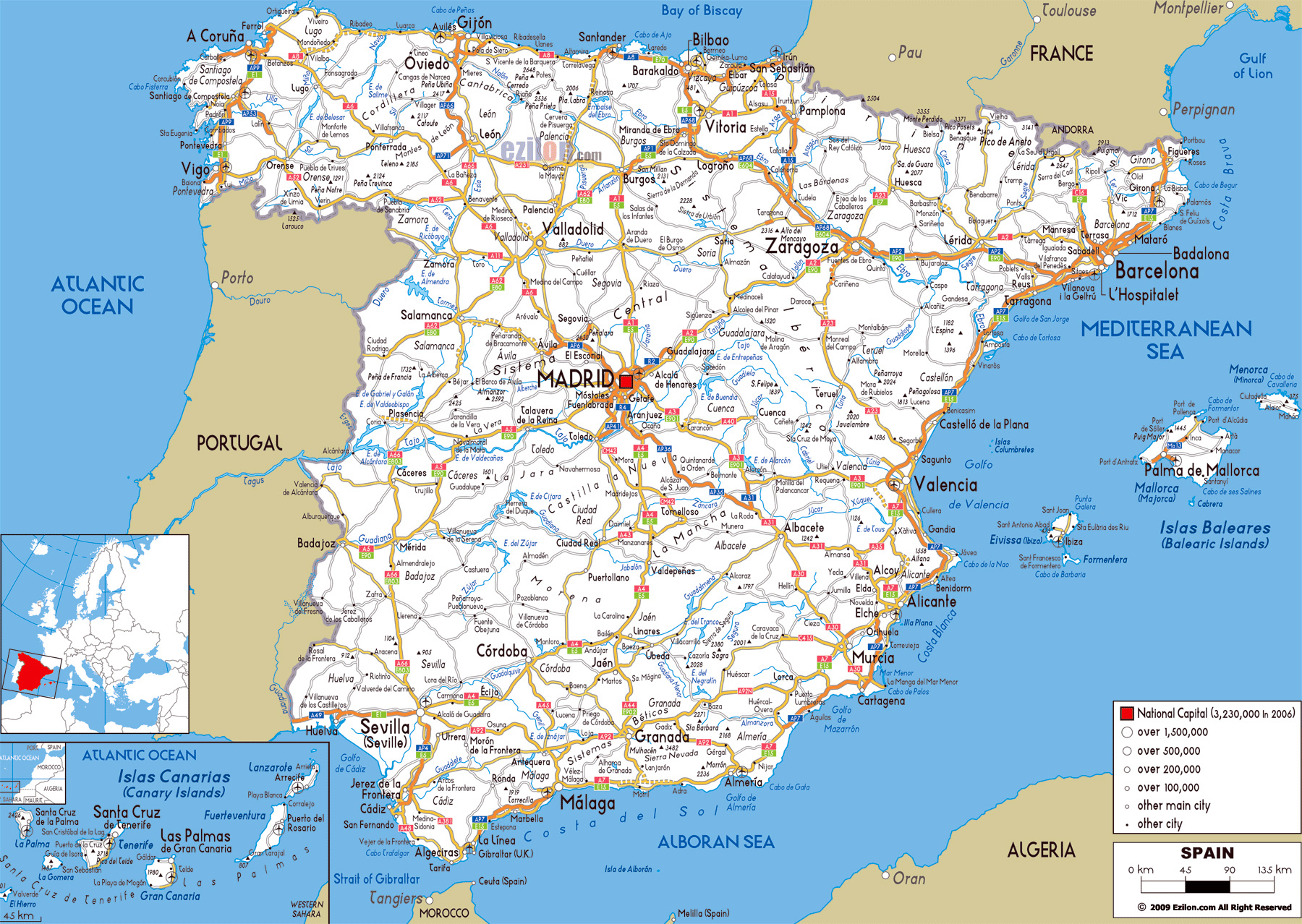 large road map of spain with cities and airports