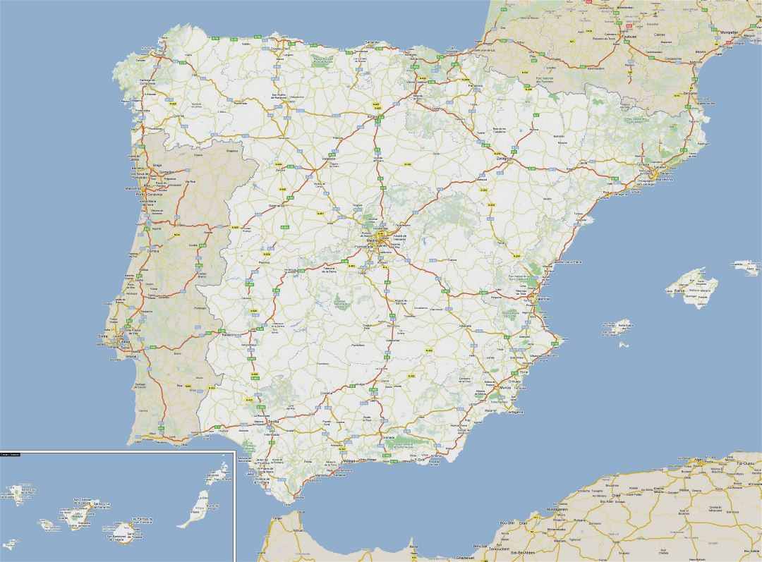 Large road map of Spain with cities
