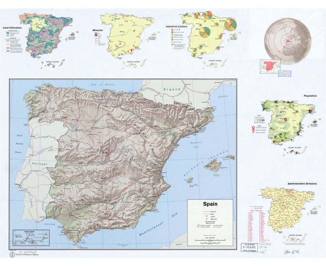 Large scale country profile map of Spain - 1974