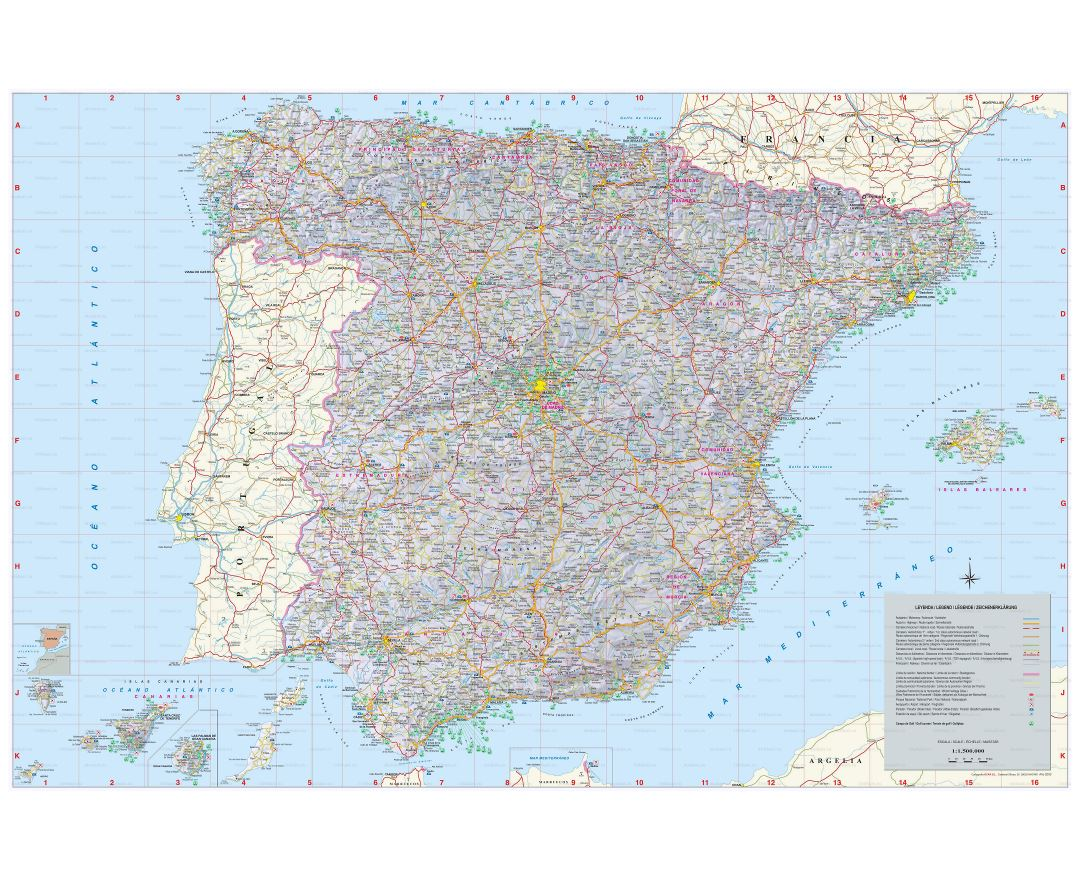Large scale map of Spain with all cities, villages, roads, highways and airports
