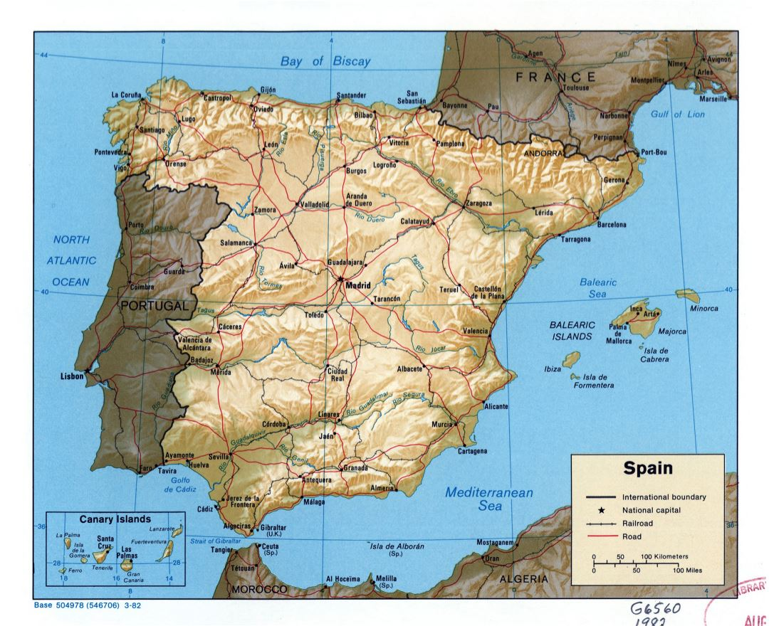 large scale political map of spain with relief roads railroads and major cities