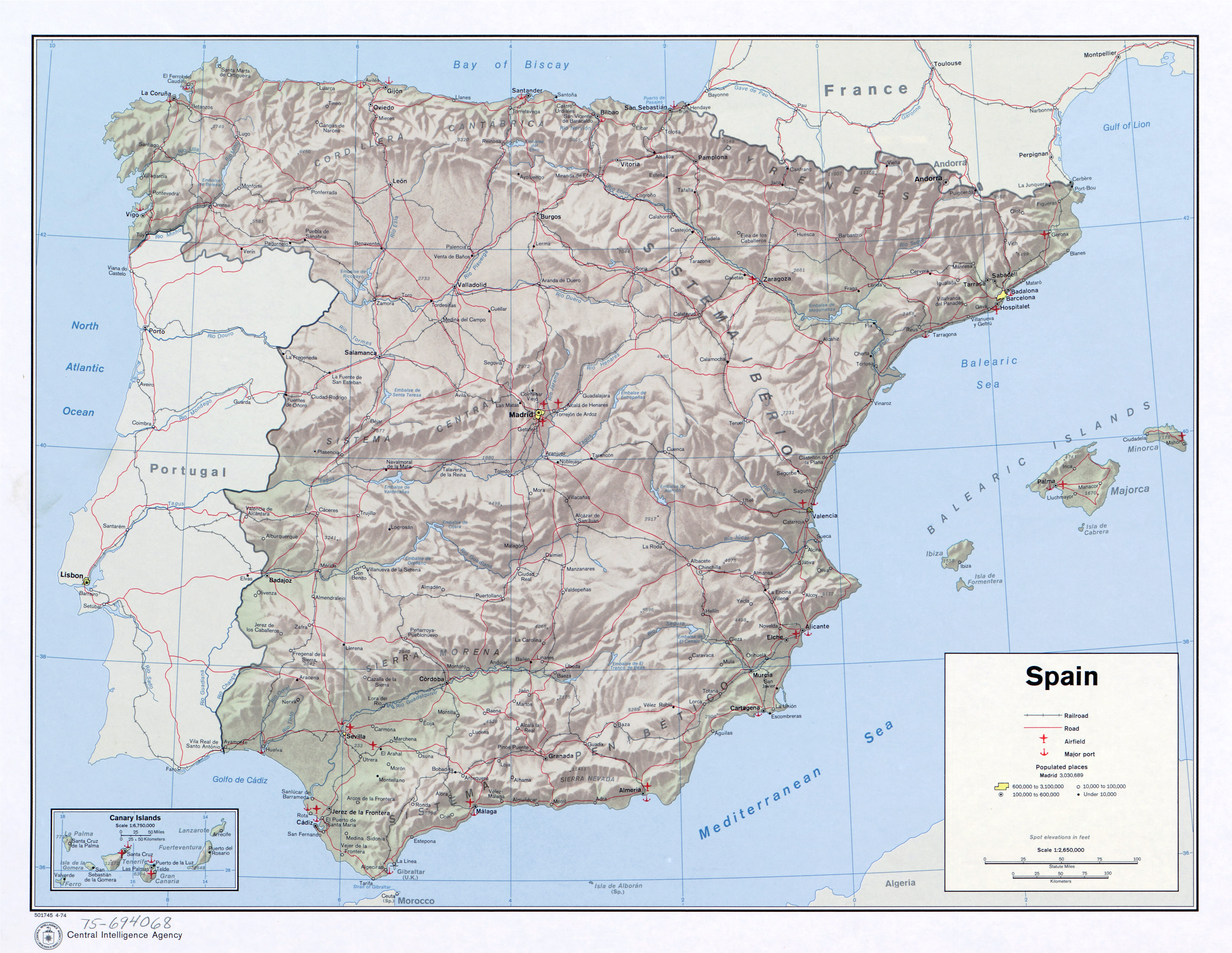 Large scale political map of Spain with relief roads railroads