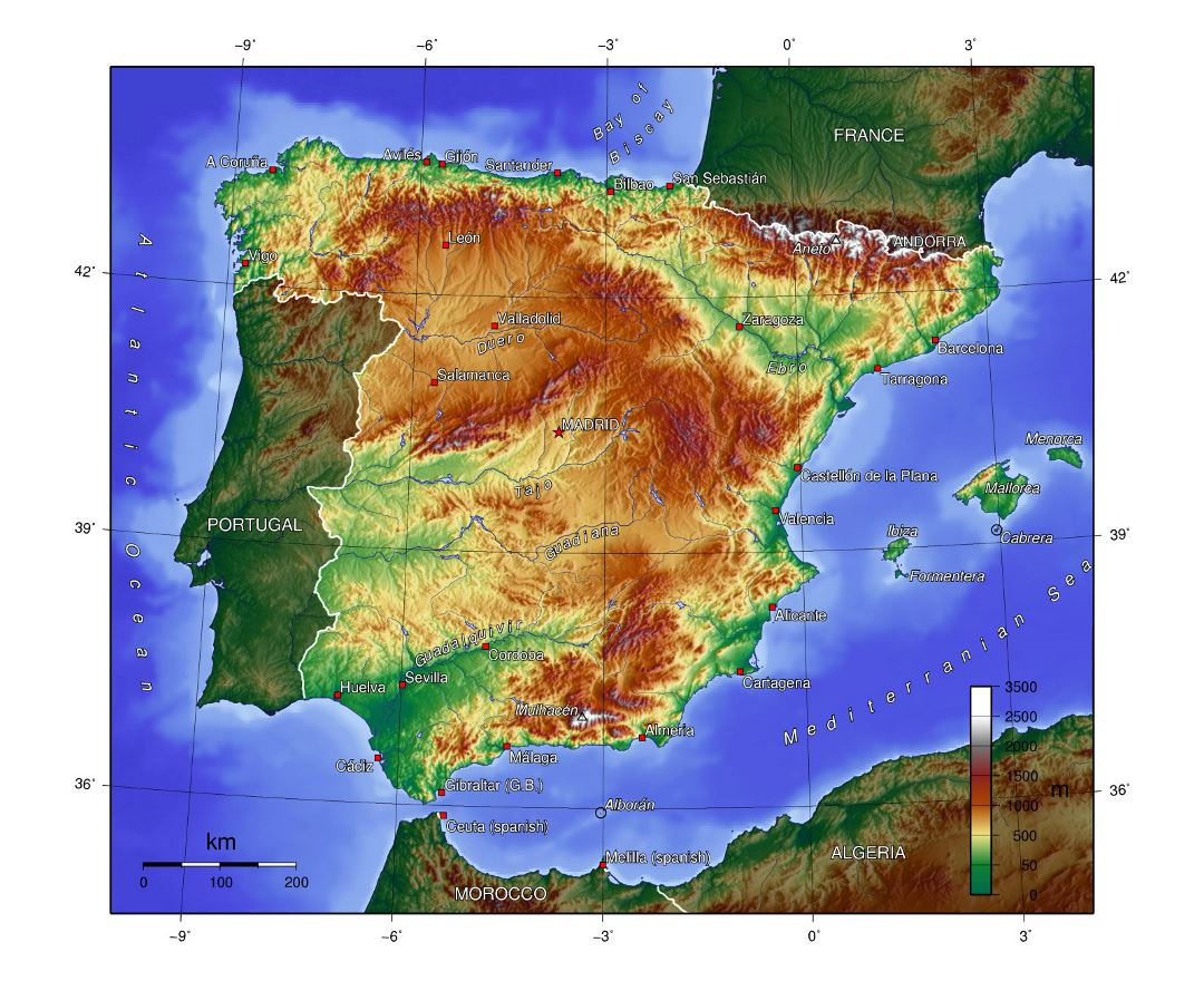 Large topographical map of Spain