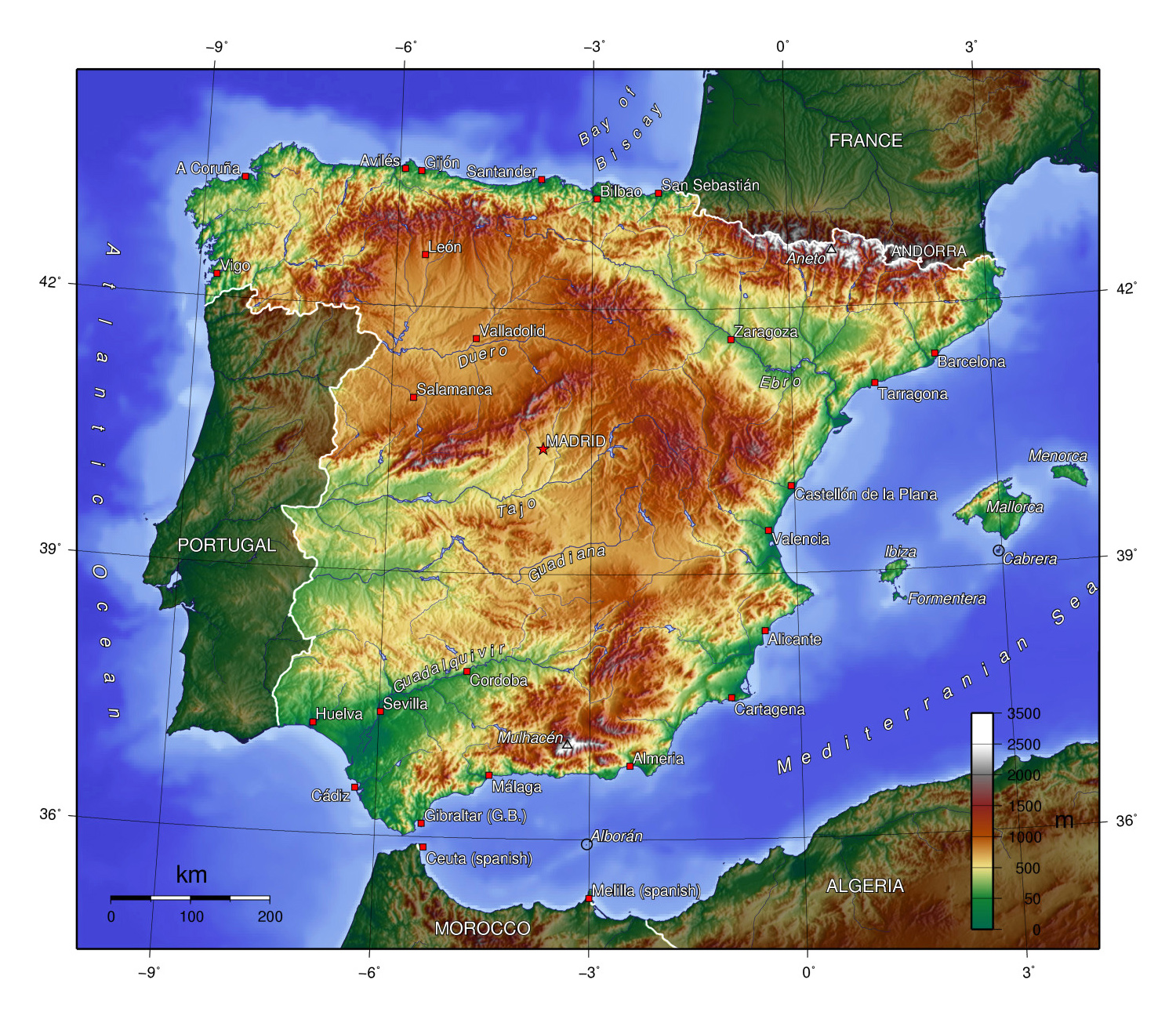 Map Of Spain In Europe.Large Topographical Map Of Spain Spain Europe Mapsland Maps