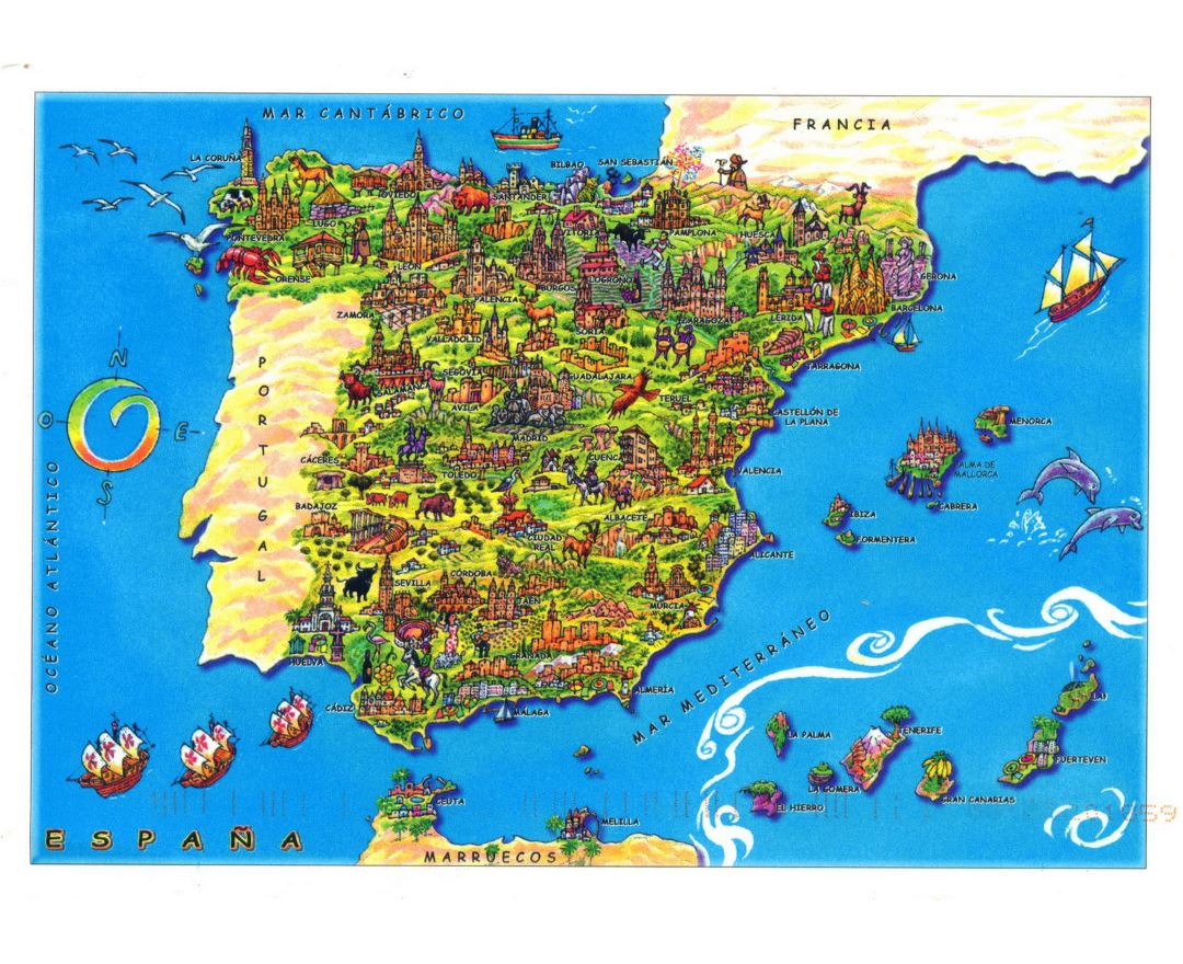 large tourist illustrated map of spain