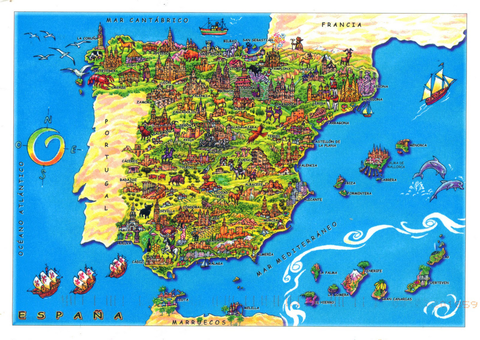 large tourist illustrated map of spain spain europe mapsland  large map ofspain. large detailed political and administrative map of spain with all