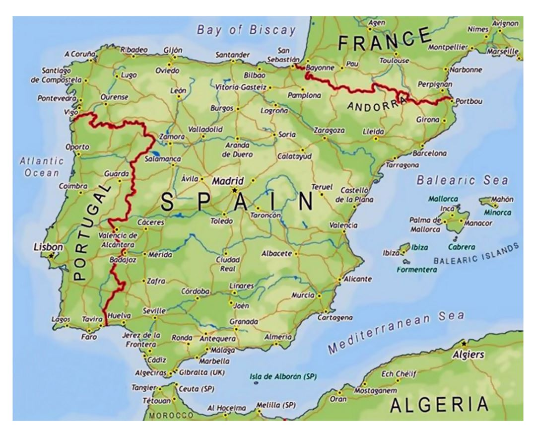 Spain Detailed Map Gallery World Maps Africa - Map of france and spain