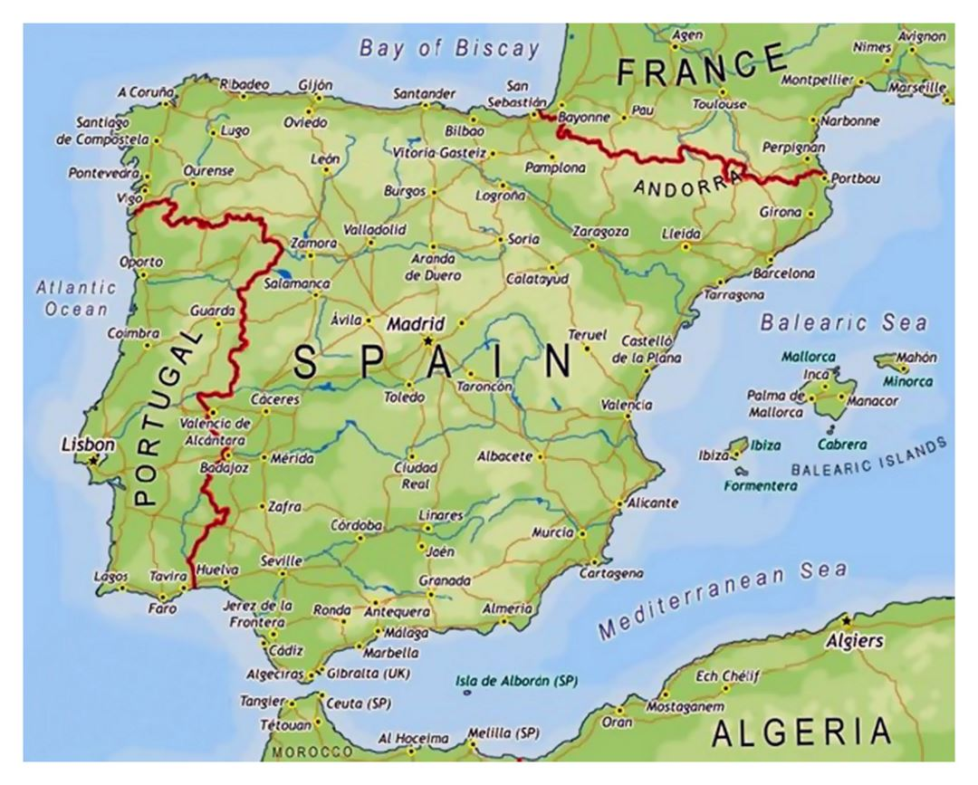 Map Of Spain And Europe.Map Of Spain Spain Europe Mapsland Maps Of The World