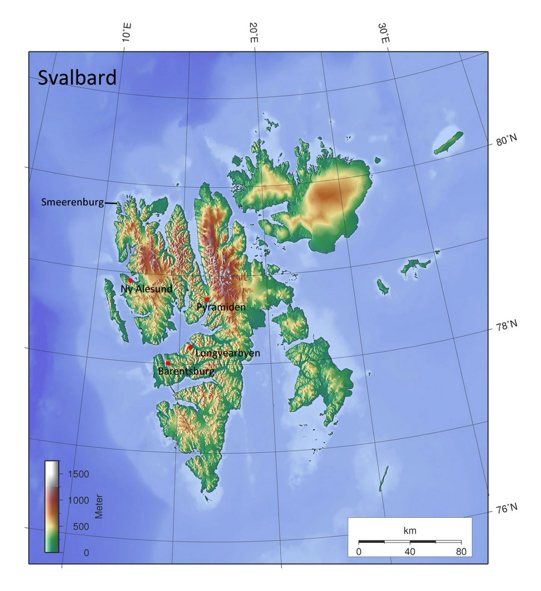 Detailed elevation map of Svalbard