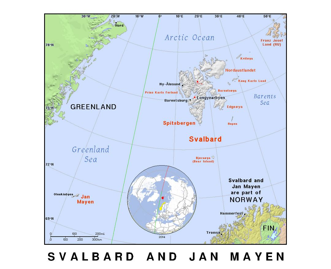 Detailed political map of Svalbard and Jan Mayen with relief