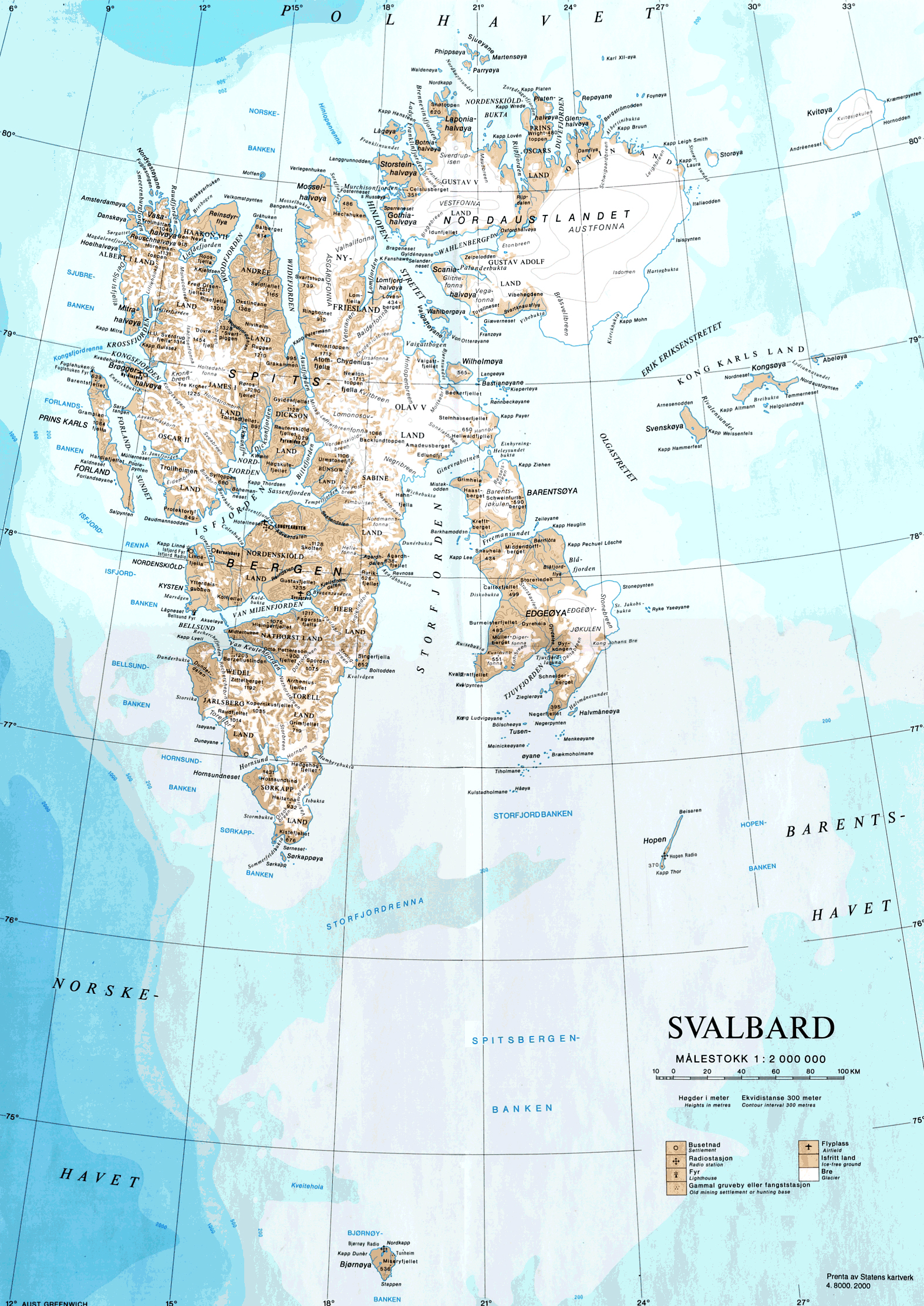 Large detailed map of Svalbard with relief and other marks