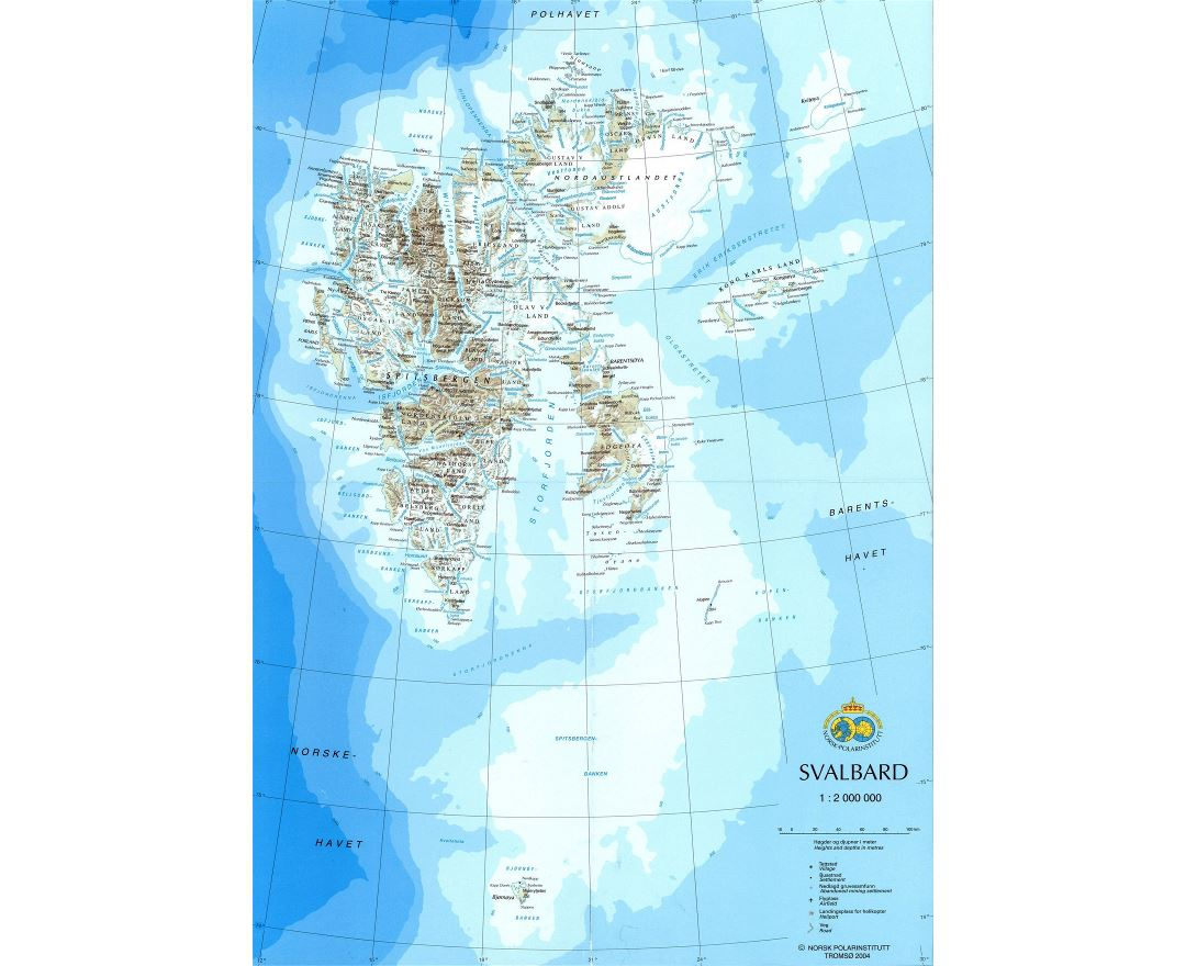 Large detailed map of Svalbard with relief, roads, cities and airports