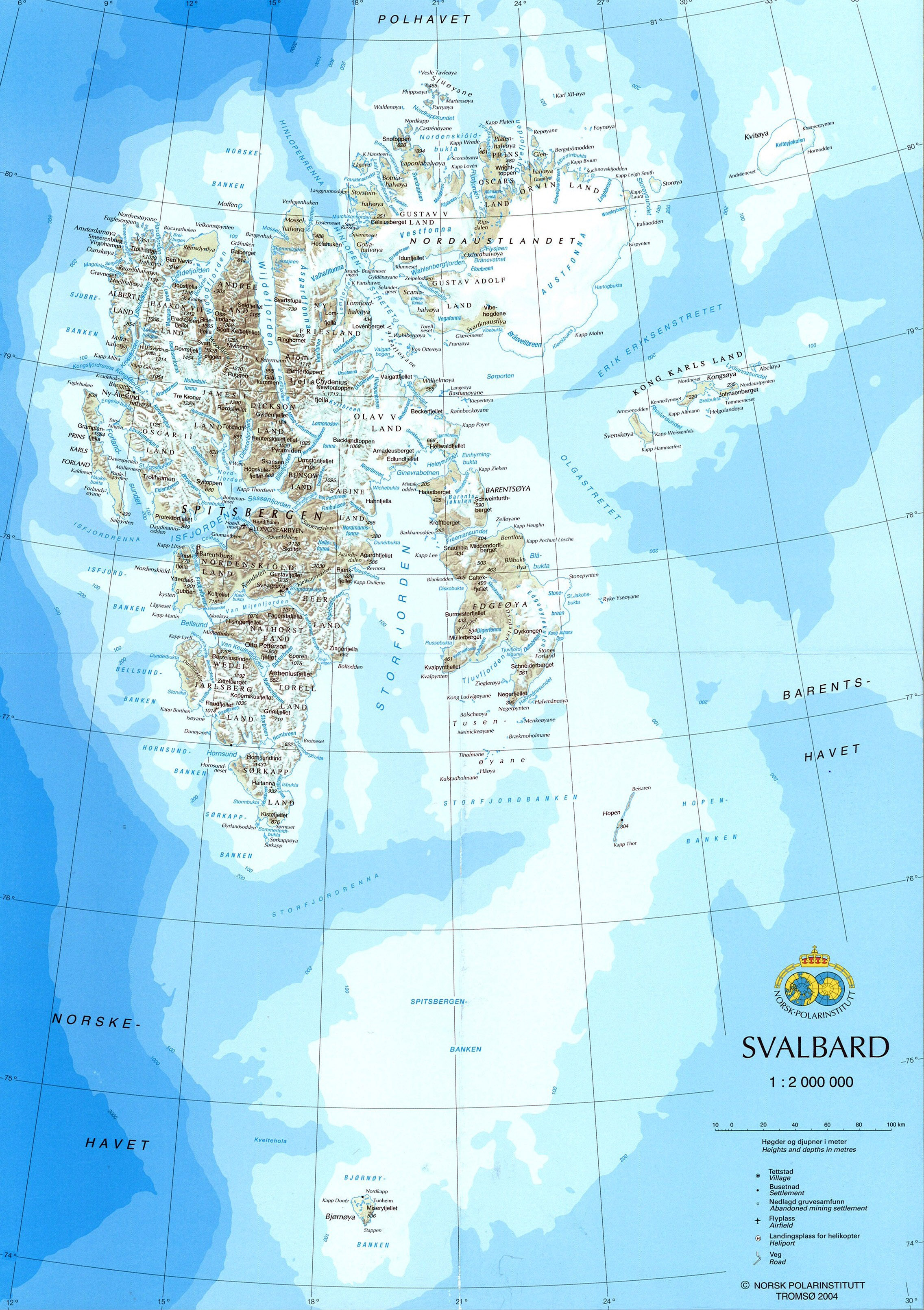 Large detailed map of Svalbard with relief, roads, cities and ...