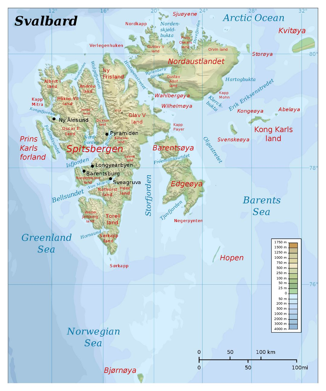 Large detailed physical map of Svalbard