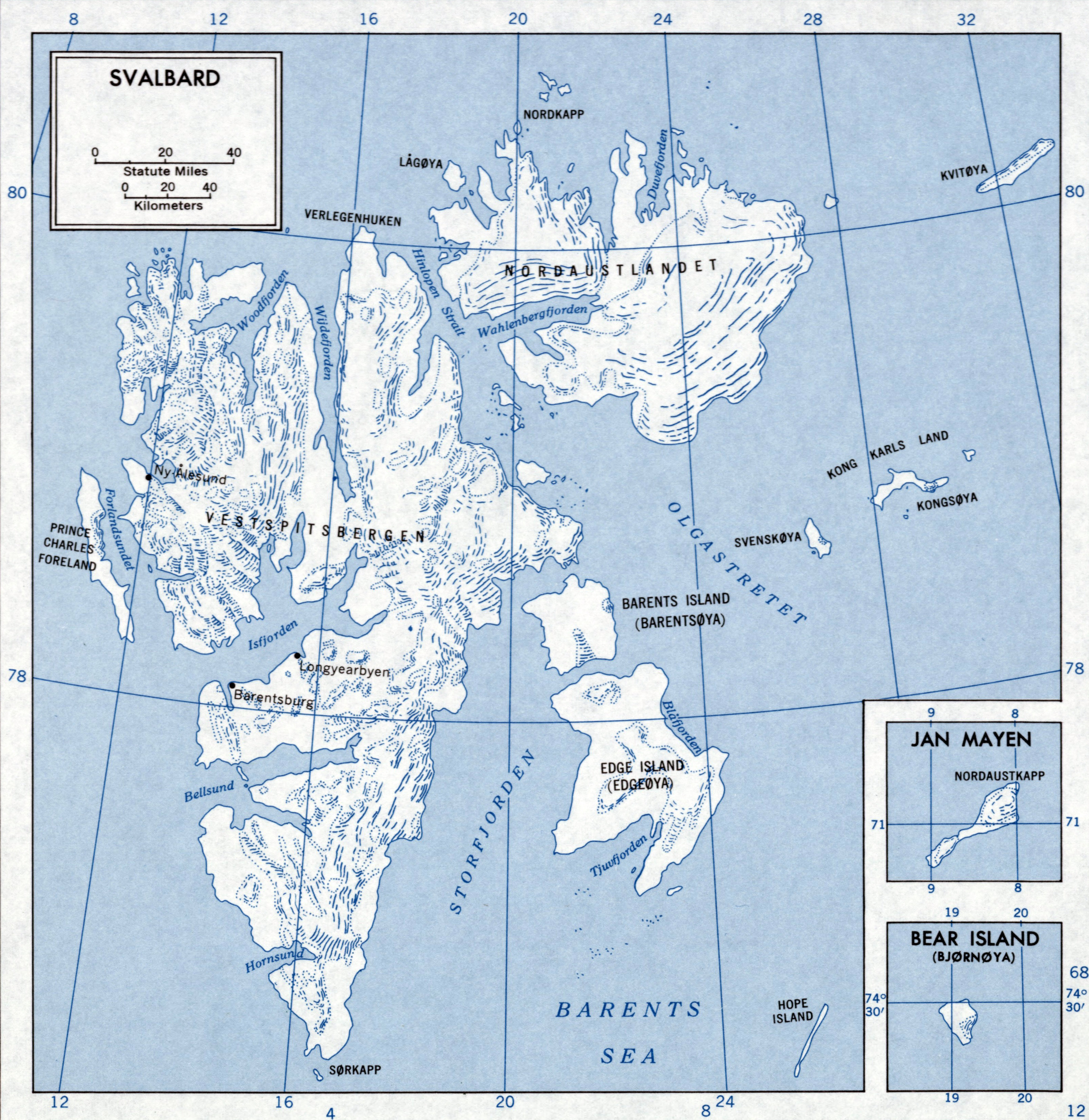 Large scale map of Svalbard Svalbard Europe Mapsland Maps