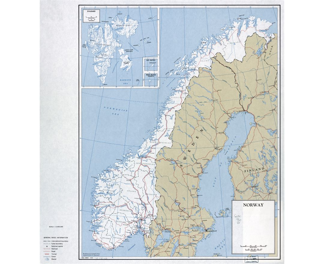 Large scale political and administrative map of Norway and Svalbard with roads, railroads and major cities - 1962
