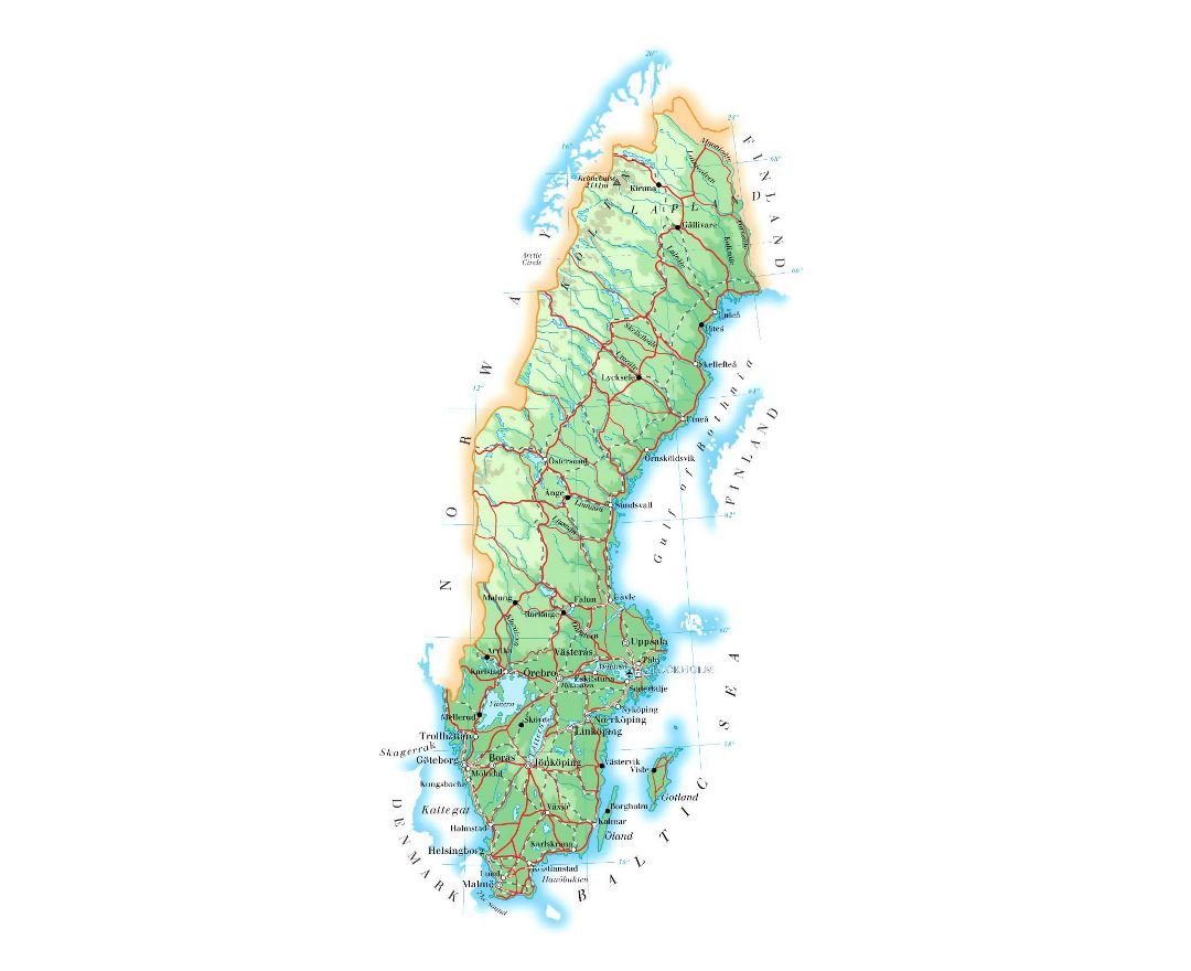 Detailed elevation map of Sweden with roads, cities and airports