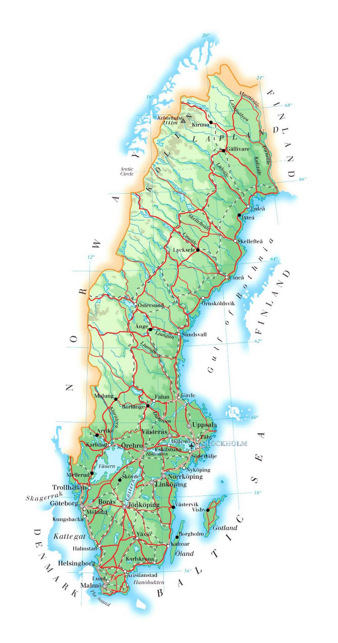 Detailed Elevation Map Of Sweden With Roads Cities And Airports - Map of sweden
