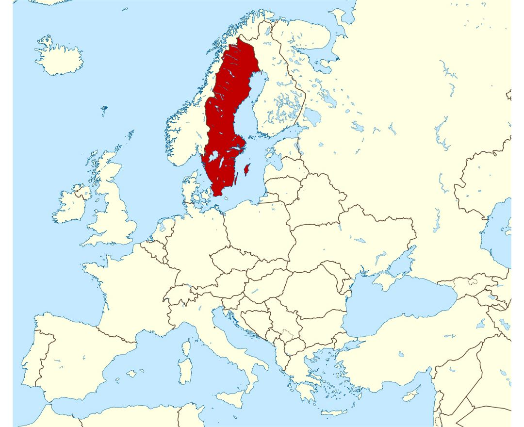 Detailed location map of Sweden in Europe