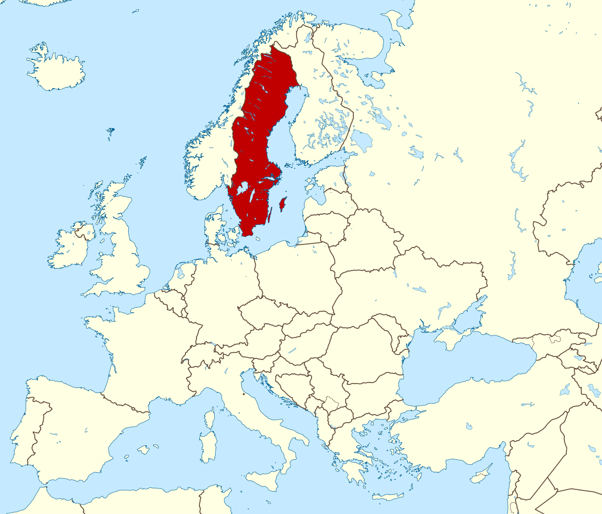 Detailed location map of Sweden in Europe Sweden Europe