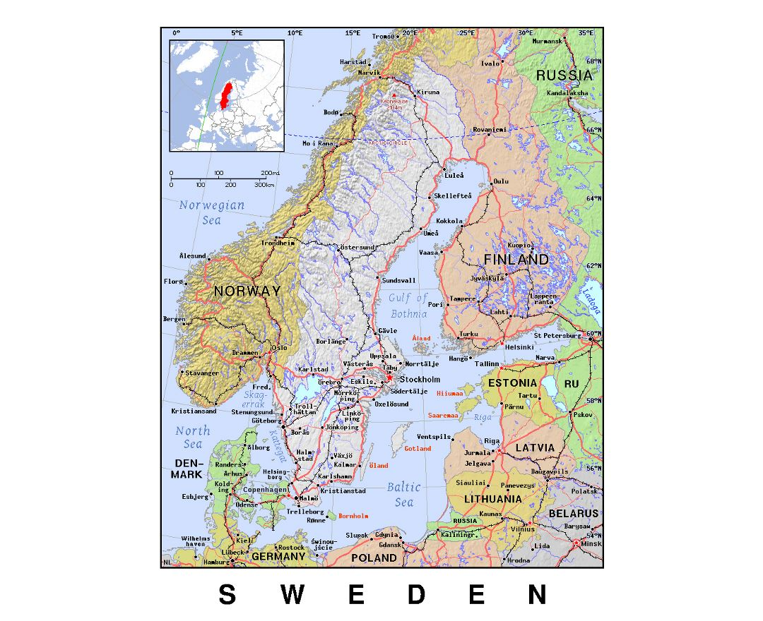 Detailed political map of Sweden with relief