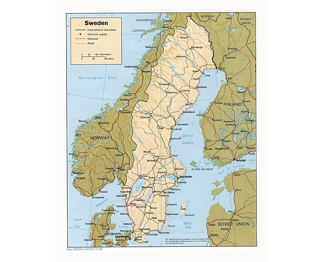 Maps Of Sweden Detailed Map Of Sweden In English Tourist Map - Sweden european map