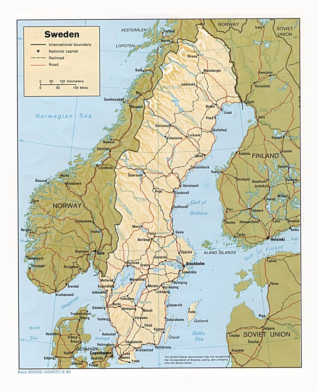 Detailed Political Map Of Sweden With Relief Roads Railroads And - Sweden map major cities