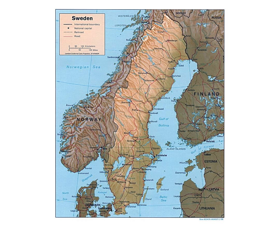 Detailed political map of Sweden with relief, roads, railroads and major cities - 1996