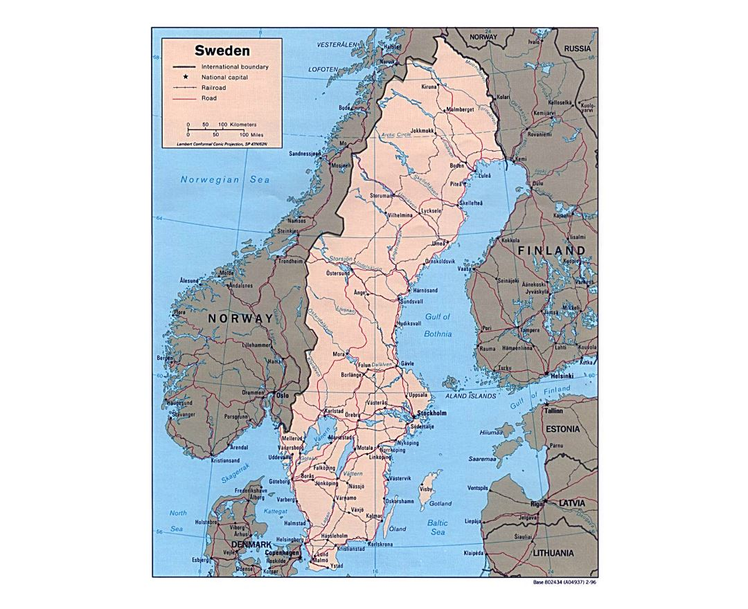 Detailed political map of Sweden with roads, railroads and major cities - 1996