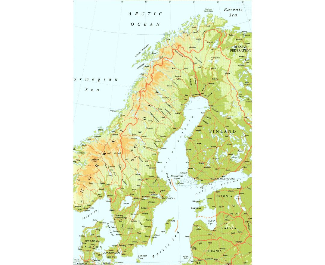 Maps Of Sweden Detailed Map Of Sweden In English Tourist Map - Sweden elevation map