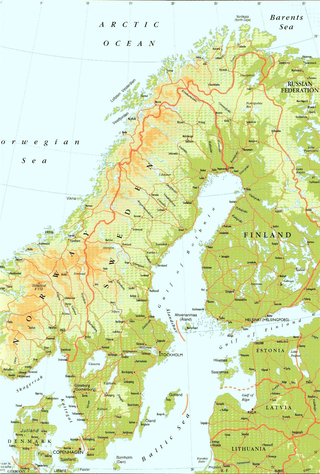 Large detailed elevation map of Sweden with roads and cities