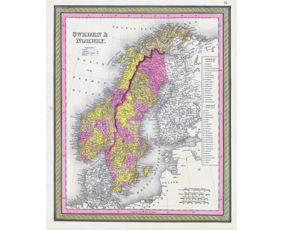 Large detailed old political and administrative map of Sweden and Norway with cities - 1850