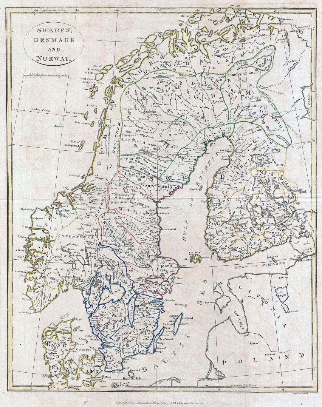 Large detailed old political map of Sweden, Denmark and Norway with cities - 1799