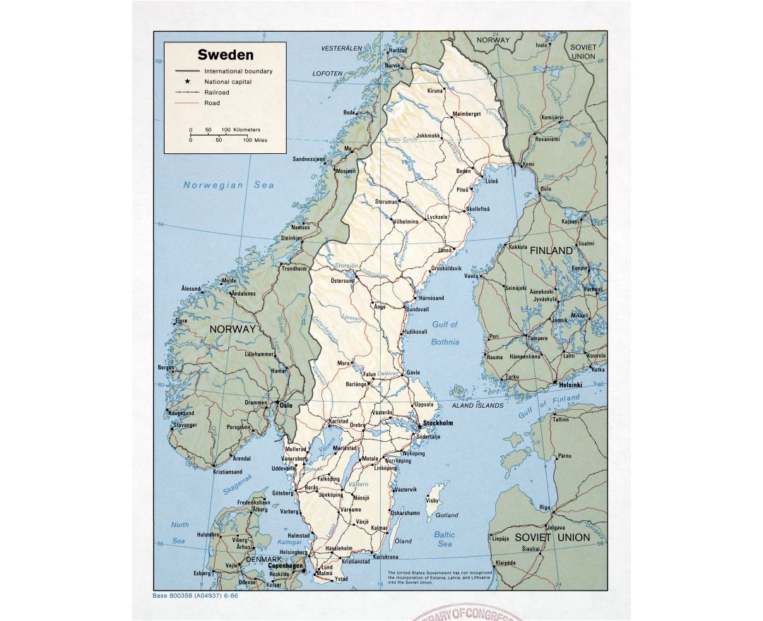 Large detailed political map of Sweden with relief, roads, railroads and major cities - 1986