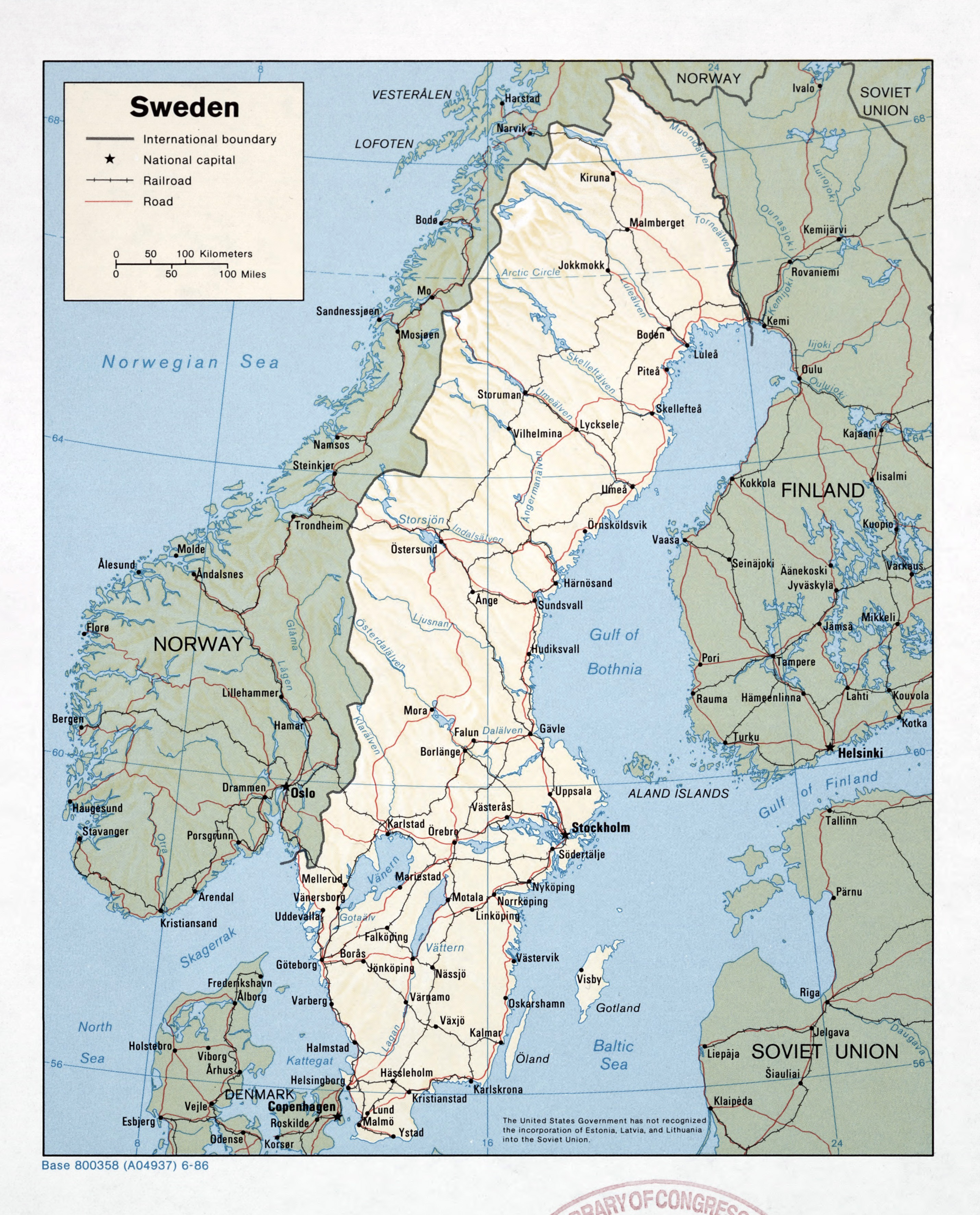 Large Detailed Political Map Of Sweden With Relief Roads - Sweden relief map