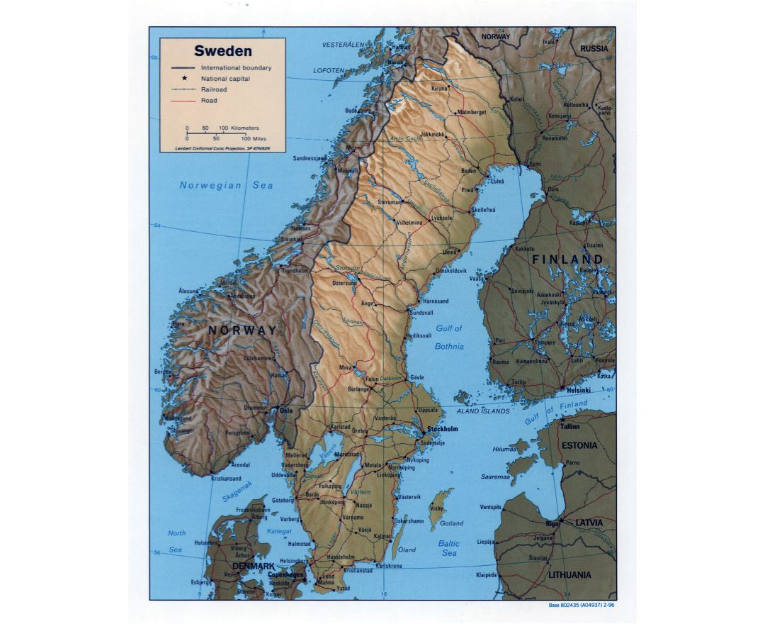 Large detailed political map of Sweden with relief, roads, railroads and major cities - 1996