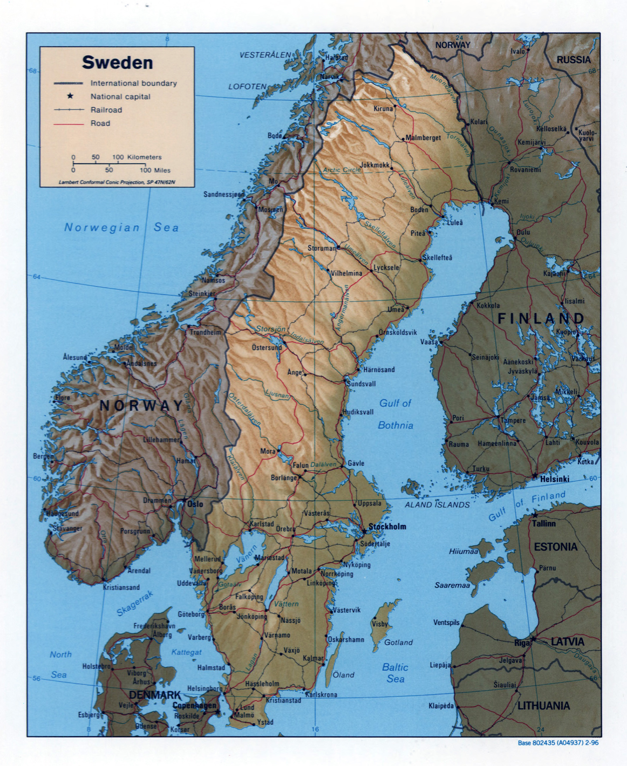 Large Detailed Political Map Of Sweden With Relief Roads - Sweden map major cities