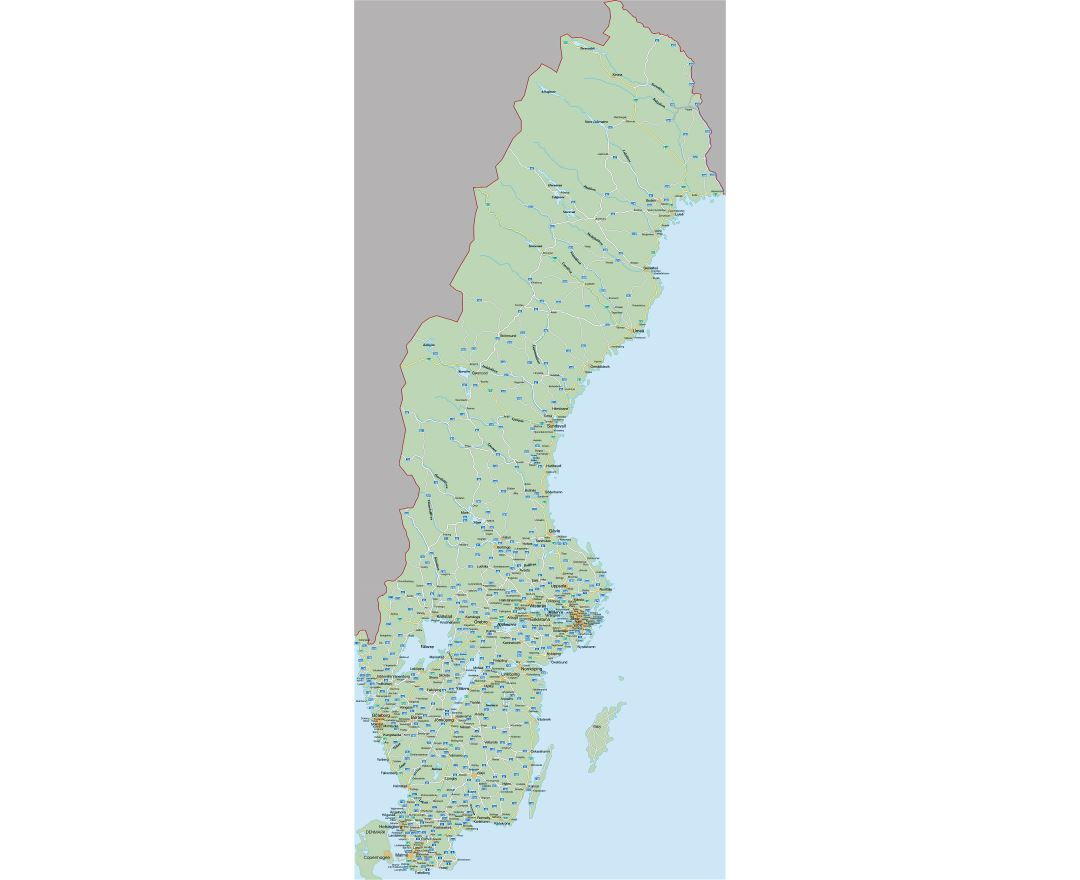 Large detailed road map of Sweden