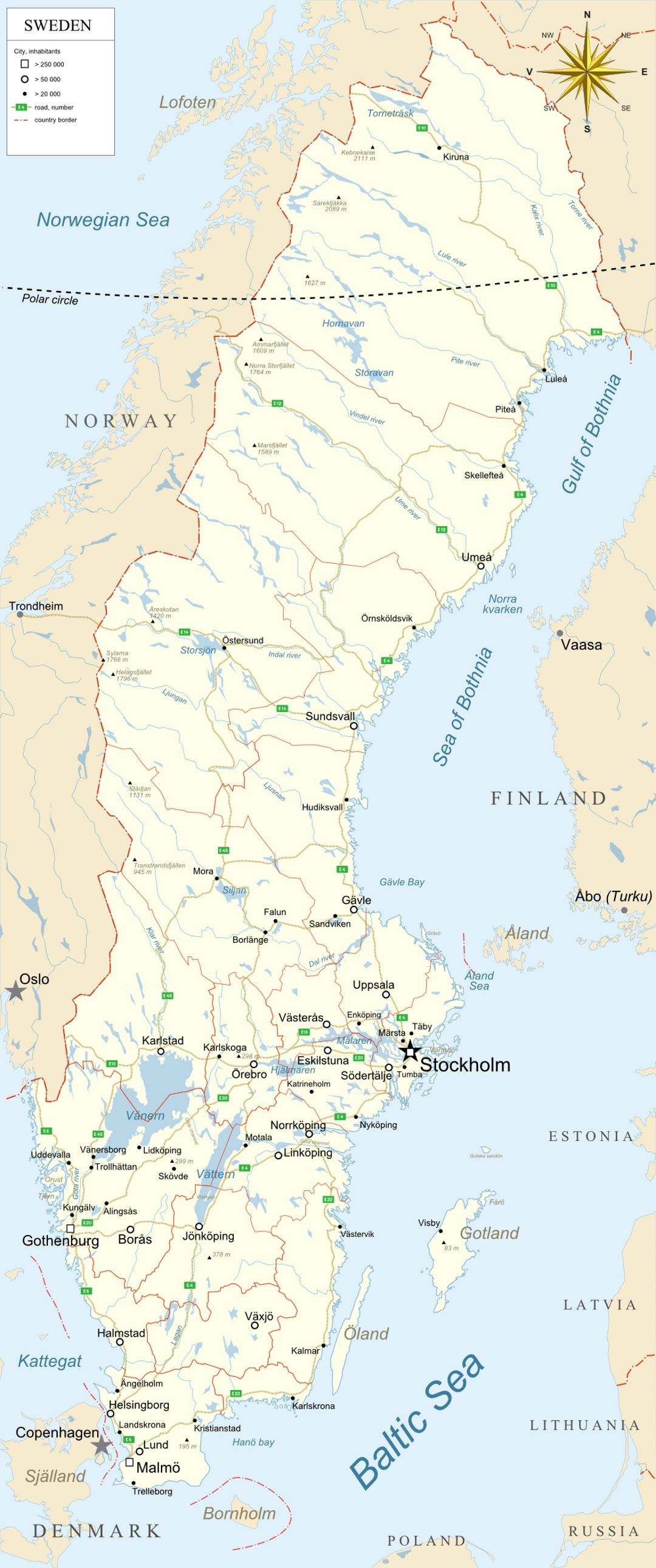 Large map of Sweden with administrative divisions, roads and major cities