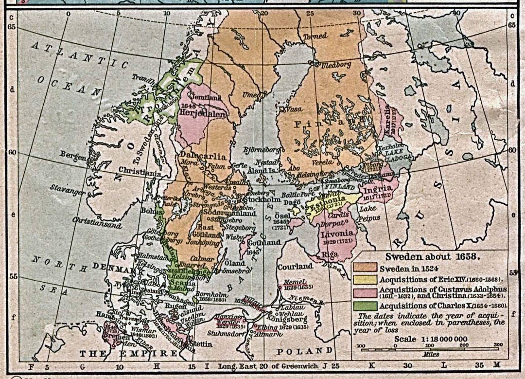 Large old map of Sweden - 1658