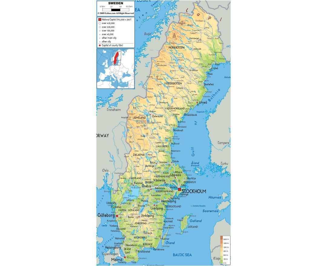 Large physical map of Sweden with roads, cities and airports