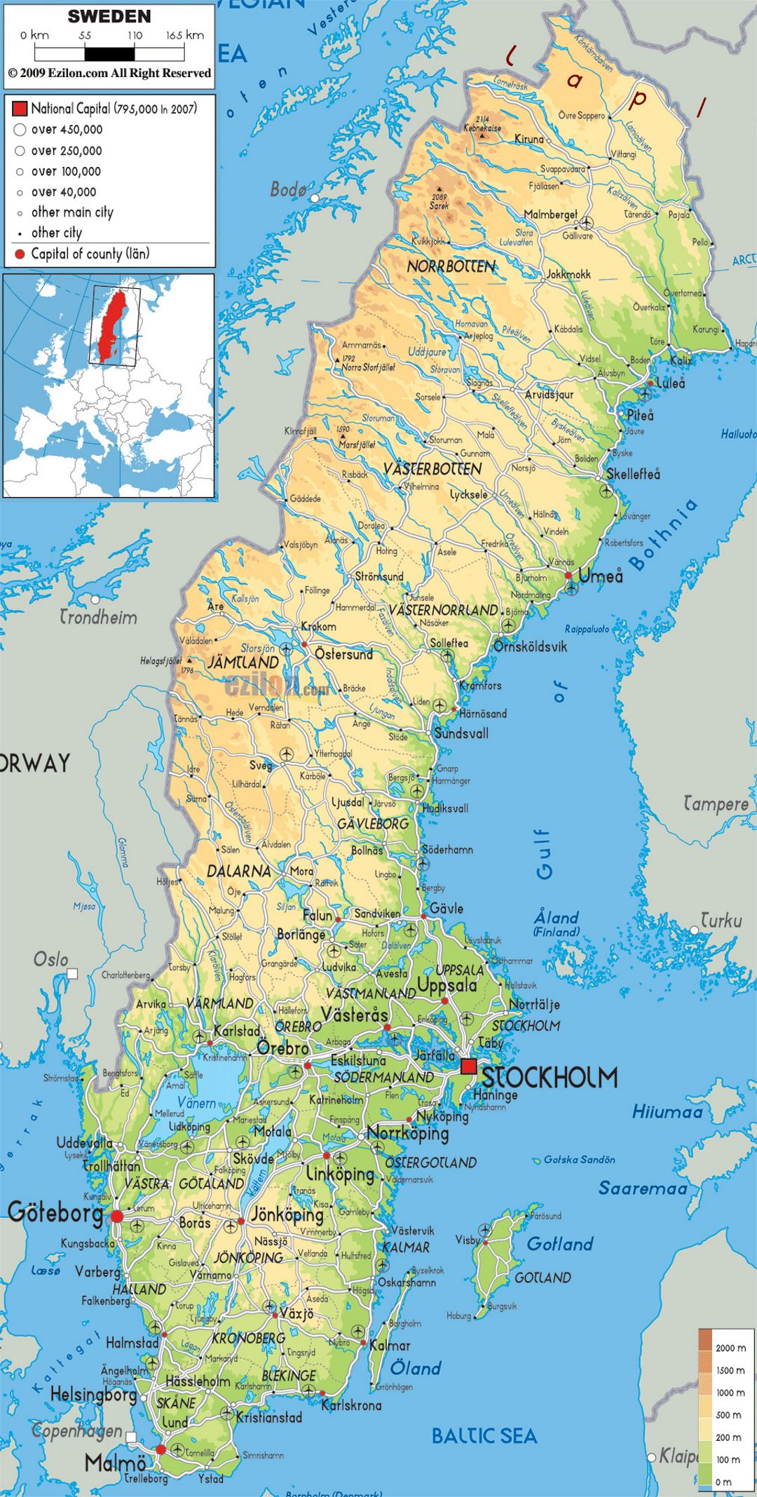 Large physical map of Sweden with roads, cities and airports ...