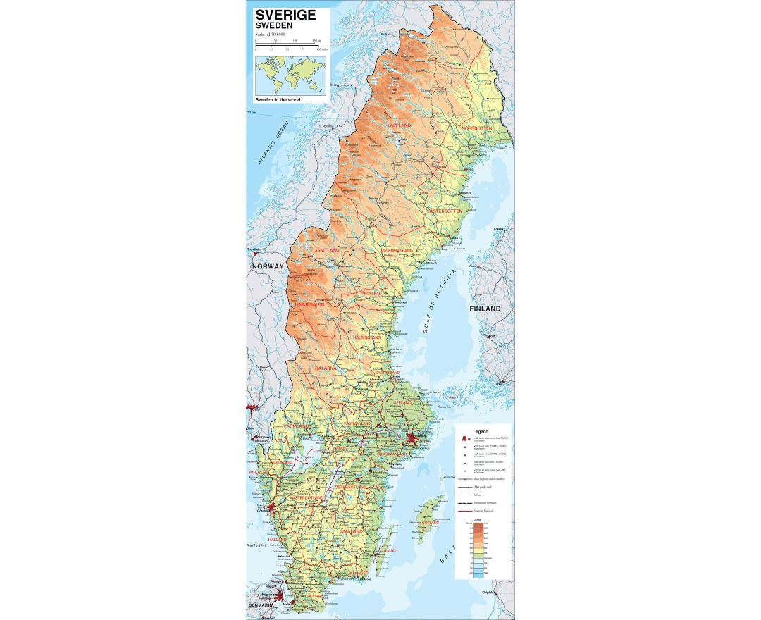 Large physical map of Sweden with roads, railroads and cities